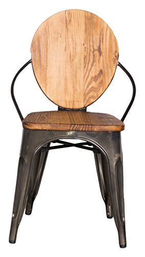 Fine Mod Imports FMI10230-walnut Metal Dining Chair, Walnut