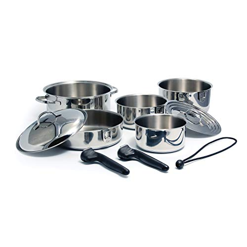 Camco Stainless Steel Nesting Cookware Set- Non Stick Pans and Pots with Removable Handles, Space Efficient Excellent for RVs and Compact Kitchen, 10-Piece Set (43921)