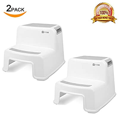 Dual Height Step Stool for Kids (2 pack) | Kids & Toddler's Stool for Potty Training & Baby Exercise| Wide Two Step Stool| Anti Slip Resistant Design for Use in Bathroom, Toilet and Kitchen| Soft Grip