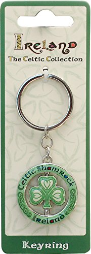 (Celtic Collection Spinner Keychain With Shamrock)