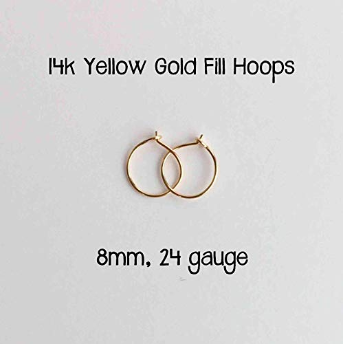 Tiny Hoops 14k Yellow Gold Fill 8mm 24 gauge Handmade Extra Thin Everyday Earrings ()