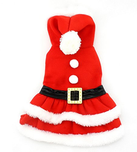 Xxs Dog Halloween Costumes (PETLOVE Small Dog Clothes for Winter Christmas Clothes Pleated Dress Hooded Dog Costume Belt Decorated Red S)