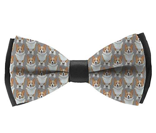 - UNIQUEISME Mens Silk Bowtie Gift Cute Corgis Puppy Bow Ties For Men Boys