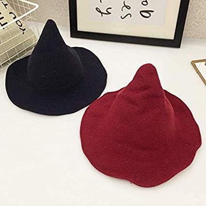 Gogolan Modern Witch Hat Wool Halloween Knit Cap Women Party Costume