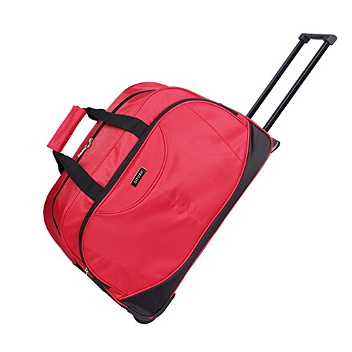 Women's Wheeled Suitcase,SIYUAN Waterproof Travel Luggage Case Rolling Duffel Red (Medium Wheeled Duffle Bag)