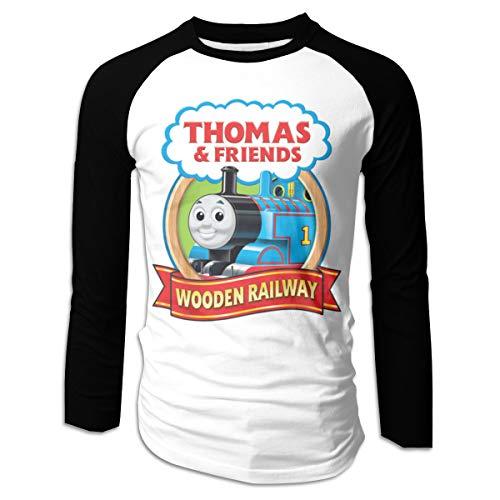 Lerzincser Mens Supersoft Thomas The Tank Engine & Friends Logo Long Sleeve Raglan Baseball Shirts L Black (Thomas The Tank Engine And Friends Logo)