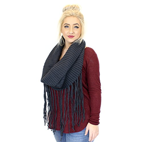 Charcoal Gray Boho Knit Infinity Loop Cowl Neck Scarf Shawl w/ Long Fringe