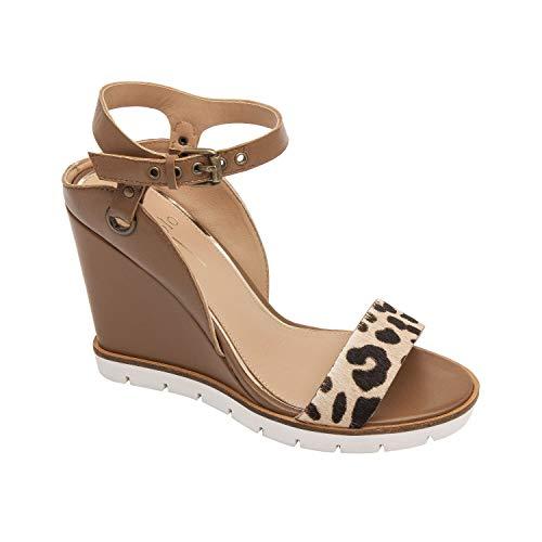 Ella | Modern Luxe Leather High Wedge Sport Sandal White/Black/Cognac Leopard Print Hair Calf/Leather 10M