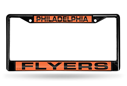 "Rico Industries NHL Philadelphia Flyers Laser Cut Inlaid Standard Chrome License Plate Frame, 6"" x 12.25"", Black"