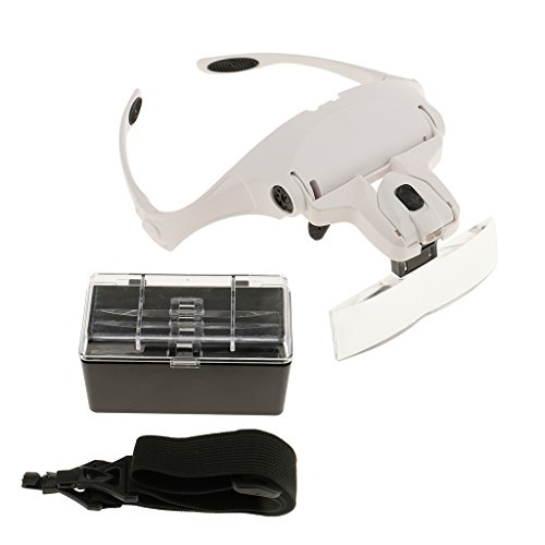 Dovewill 5 Lens Headband LED Lamp Head Light Jeweler Magnifier Handset Magnifying Glass Loupe -