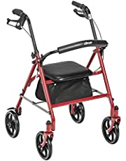 Drive Medical 4 Wheel Rollator, Red, 1 Each 1 count