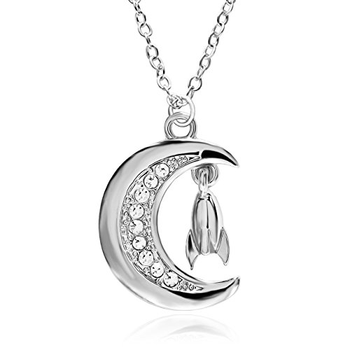 MANZHEN Gold Silver Tone Crystal Crescent Moon with Rocket Charm Pendant Necklace Moon Jewelry (Silver)