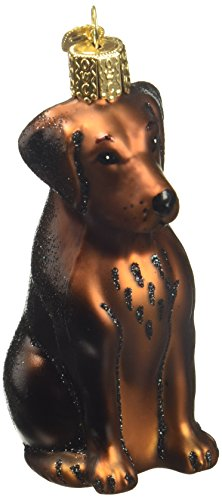 Old World Christmas Ornaments: Chocolate Labrador Glass Blown Ornaments for Christmas Tree