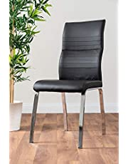 Furniturebox UK 2x Modern Stylish Contemporary White Black Grey Andora Faux Leather And Chrome Metal Kitchen Dining Chairs
