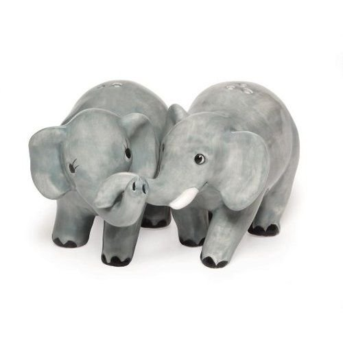2 Piece Handpainted/Sculpted Salt & Pepper Set