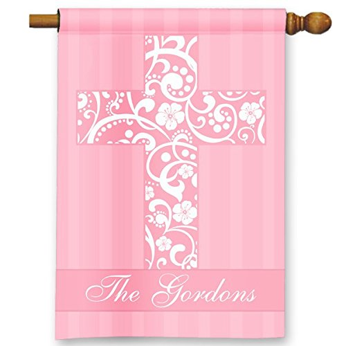 Pink Floral Easter Crucifix Custom Personalized Double-Sided Garden/House Flag
