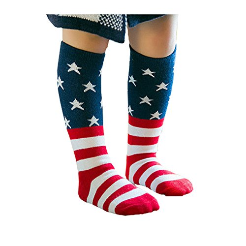 Efanr Kids USA Flag Socks Casual Crew Fashionable Cotton Striped and Star Socks (4~6 years - Usa For Kids