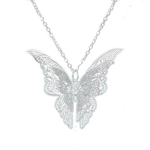 Balakie Silvery Stainless Steel Butterfly Pendant Chain Necklace Birthday Girls Gift New ()