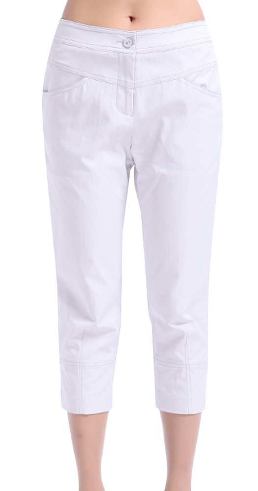 Generic Women's Summer Short Style Pants Size 31 White by Generic