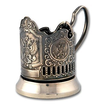 Russian Imperial Coat of Arms Classic Russian Tea Glass Holder / Russian Podstakannik for Hot or Cold Liquids
