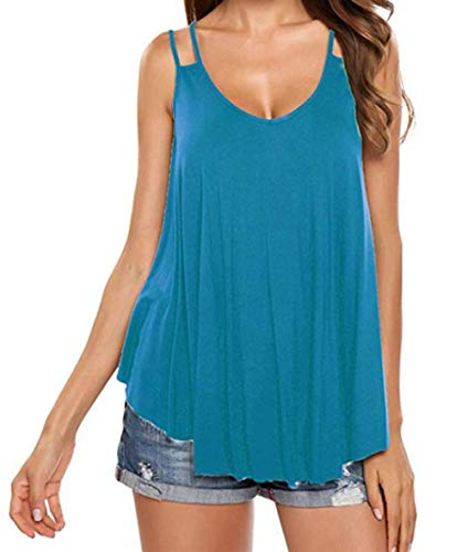- AKEWEI Women's Flowy V Neck Strappy Tank Tops Loose Cami Casual Sleeveless Shirts Blouses(Blue,XL)