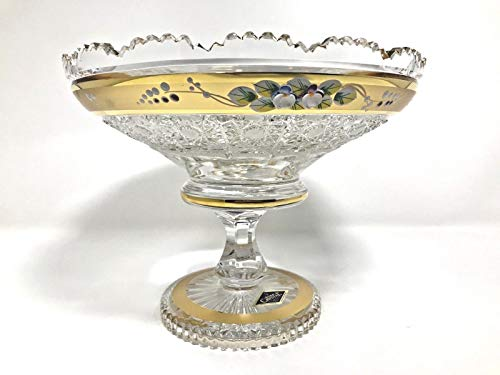 Bohemian Crystal Glass Footed Bowl-Vase 8''-Dia Hand Cut Gold Plated Hand Decorated Wedding Gift Vintage Lace Design Elegant Centerpiece Dish Fruits Desserts Candies Classic Czech Crystal Glass