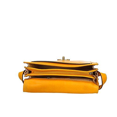 de Aren 25x18x7 cuero Italy Amarillo in Made Cm bolsa auténtico hombre del Hombro grZHgS
