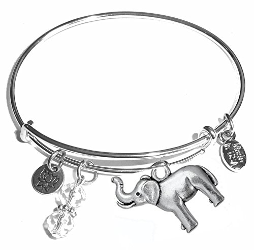 Message Charm (46 words to choose from) Expandable Wire Bangle Bracelet, in the popular style, COMES IN A GIFT BOX! (Elephant)