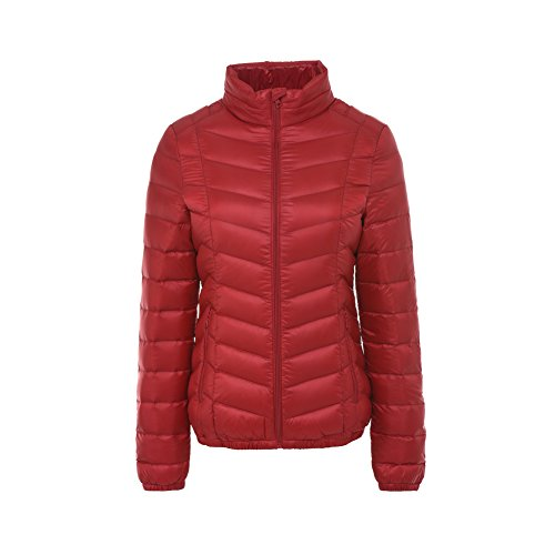 Ultra Stand Parka Red Outwear Giacche Windproof Piumino Cappotto Leggeri Collar Bmeigo Donna 6HzqZB