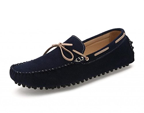 SUNROLAN Men's Fashion Dress Casual Leather Flats Bowtie Driving Moccasin Loafer Shoes 2018 2018 Blue i5tniuYDPG
