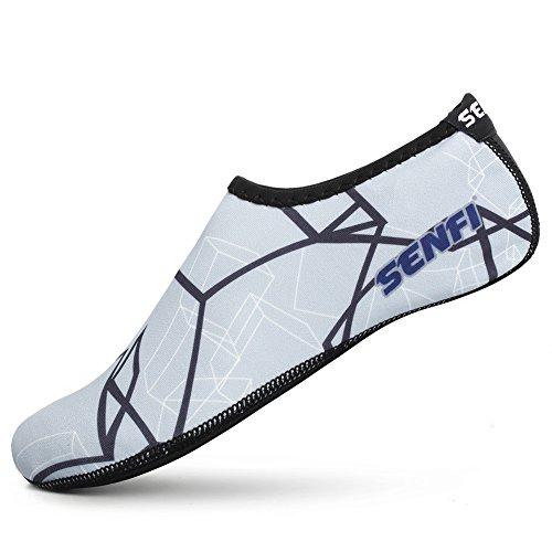SENFI Unisex Wasser Haut Schuhe Barfuß Aqua Socken für Pool-Wasser-Aerobic-Übung 02grau