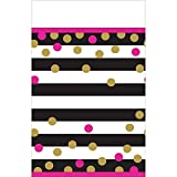 Amscan Party Supplies Pink and Gold Confetti Plastic Rectangle Table Cover, Multicolor
