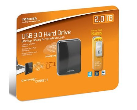 Toshiba Canvio Connect Portable External Hard Drive 2TB with USB 2.0 Flash Drive 32GB