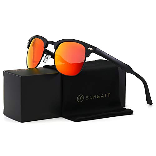 SUNGAIT Classic Half Frame Retro Sunglasses with Polarized Lens (Black Frame Red Lens