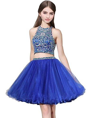 anmor Short 2 Piece Beaded Prom Dresses High Neck Tulle Homecoming Gowns for Juniors Royal Blue US4 Tulle Beading