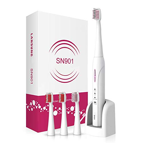 HAJZF UV Disinfection Electric Toothbrush Induction Charging Type Ultrasonic Soft Hair Waterproof Whitening Anti-Caries,Pink