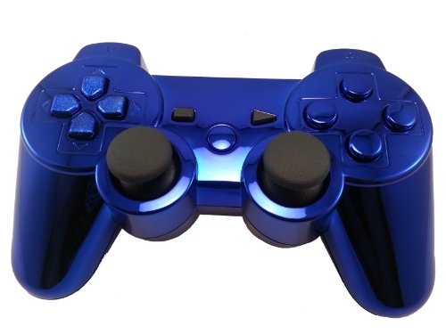 PS3 Modded Controller with 78 Mods (Rapid-fire, Drop Shot, Auto-aim, Jitter COD MW3, Black Ops, MW2) MIDNIGHT BLUE Chrome Finish