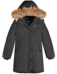 Wantdo Girl's Long Coat Thick Padded Jacket Parka with Fur Hood