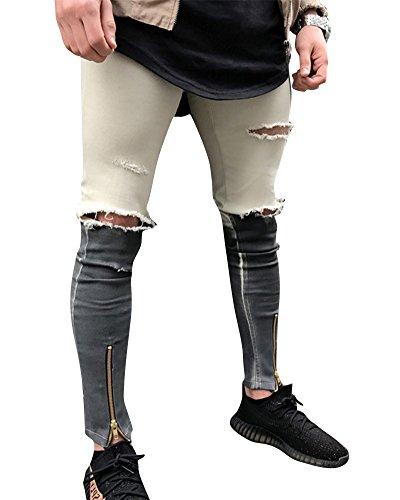 Hombre Elásticos Cómodos Jeans Slim Fit Denim vaqueros Destruido Rotos Tapered Tejanos Pantalón Beige Gris