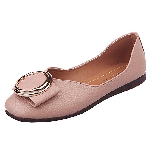 POHOK Office Leisure Women Shallow Fish Mouth Low Heel Shoes Pointed Single Shoes(38,Pink) ()