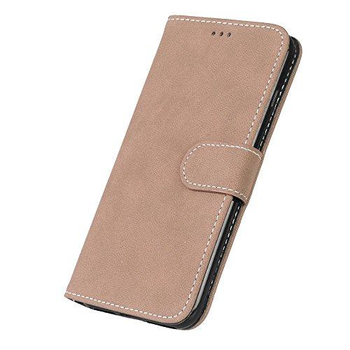iPhone Case Cover Solid Color Premium PU-Leder Tasche Cover matt-Retro-Flip-Stand Hülle Geldbörse mit Karte Schlitze Foto Frames für Apple IPhone 7 IPhone7 Plus 7 + ( Color : 5 , Size : Apple IPhone 7