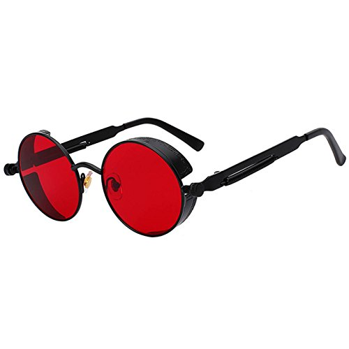 Steampunk Retro Gothic Vintage Hippie Black Metal Round Circle Frame Sunglasses Sea Red Lens - Red Glasses Round