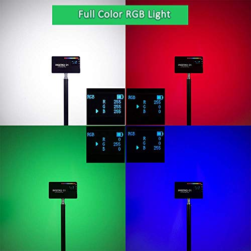 INSSTRO C1 RGB LED Video Light, Full Color RGB Light for Camera Camcorder, Rechargeable Pocket Size Video Light with 2500k-8500k Color Range, 10 Scene Simulations with INSSTRO Mini Hot Shoe Stand