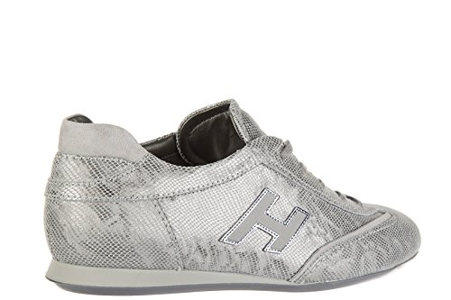 Hogan Womens Shoes Leather Trainers Sneakers Olympia h Flock Silver LkiId