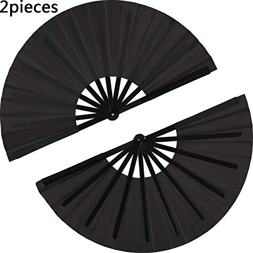 (2 Pieces Large Folding Fan Nylon Cloth Handheld Folding Fan Chinese Kung Fu Tai Chi Fan Black Decoration Fold Hand Fan for Party Favors (Black))