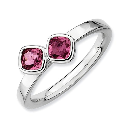 Sterling Silver & Pink Tourmaline 2 Stone Cushion-Cut Ring, Size 10