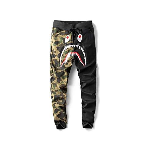Unisex Sports Casual Sweatpants Men Trousers Athletics Sweatpants Shark Head Jaw Shorts Rap Sweatpants (Black-camo, XL)