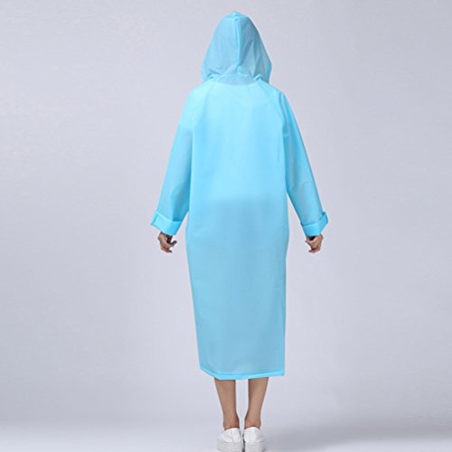 Zhhlinyuan Adult Outdoor Waterproof PVC Poncho Hooded Long Sleeve Raincoat Light Blue