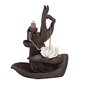 Handmade Backflow Incense Burner Lotus/Monk Backflow Incense Holder Incense Cone Sticks Holder with 10pcs Backflow Incense Cones Home Decor (Lotus)