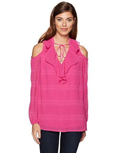 Jones New York Women's Vintage Pleat Cold Shoulder Top, Fuchsia S